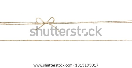 Twine rope with bow isolated.Package decor.