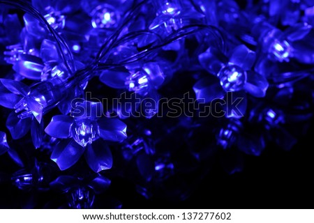 Twinkle lights made with blue ray light emitting diode in flower shape