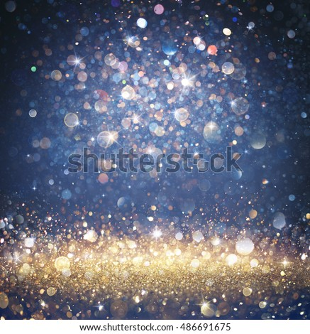 Twinkled Christmas Background - Glitter Gold And Blue With Sparkling Of Stars