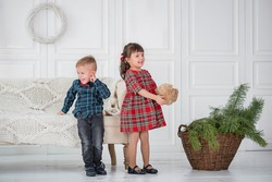 twins - boy and girl playing in a white room near the sofa and a basket with the pine tree branches