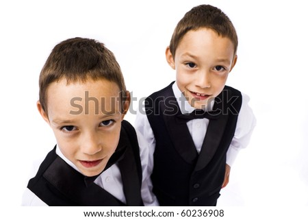 twins playing young gangsters isolated on white