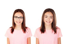 Twins teenager girls isolated on a white background