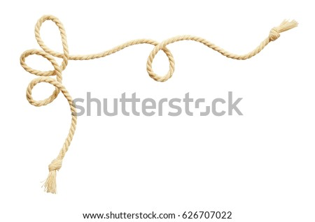 Twisted beige cotton rope corner isolated on white #626707022