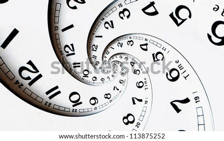 Twisted clock face. Time concept