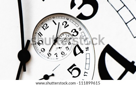 Twisted clock face with arrows. Time concept