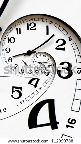 Twisted clock face with arrows. Time-management concept