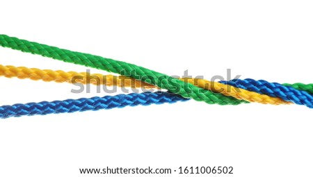 Twisted colorful ropes isolated on white. Unity concept