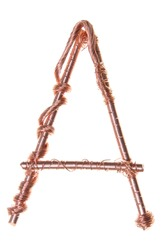 Twisted copper wire in the shape of the letter A