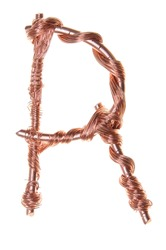 Twisted copper wire in the shape of the letter R