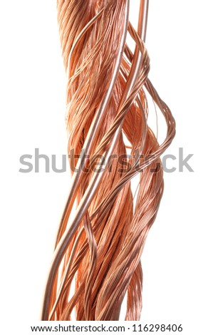 Twisted copper wire isolated on white background