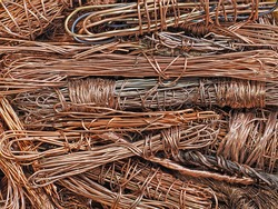 Twisted copper wires. scrap metal. salvage. non-ferrous metal