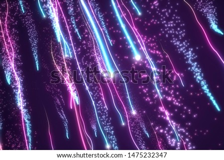 Twisted glowing blue and purple neon fiber trails. Glow lines chaotic growing. Particles motion blur. Turbulence effect. Abstract cgi art.