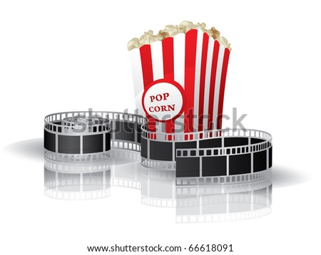 Twisted moviefilm, tickets and popcorn background