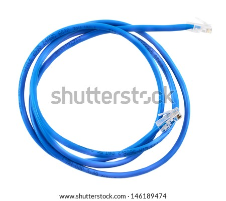 Twisted pair blue network cable isolated over white background