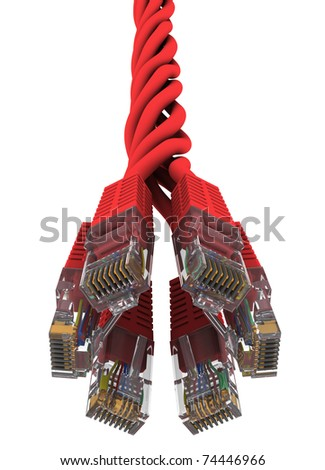 twisted red net wire on white background