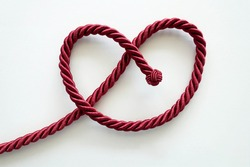 Twisted Red Rope Tied into Heart