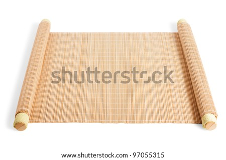 twisted reed mat isolated on white background