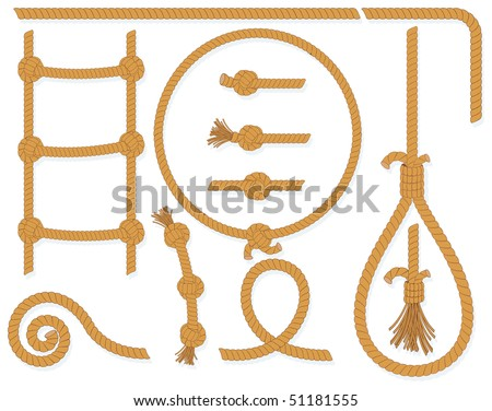 Twisted rope collection- isolated  design elements:gallows, ladder, cable, lasso, knots, loop, spiral etc.. (available in eps id=51105781)
