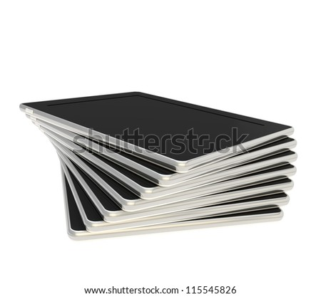 Twisted stack of pad black tablet electronic devices isolated on white background - stock photo
