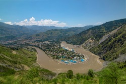 twisting river in muzafarabad ,  The Jhelum River is a river that flows from the Indian-administered territory of Jammu and Kashmir ,landscape photos of Kashmir, Pakistan