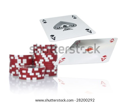 Two aces flying over a game table beside three piles of red chips. Isolated on white.