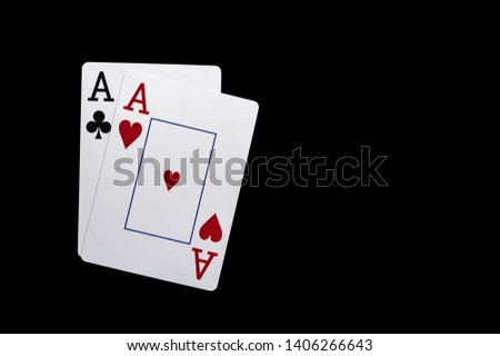 Two aces, playing cards on black table. Casino, gambling game chance concept #1406266643