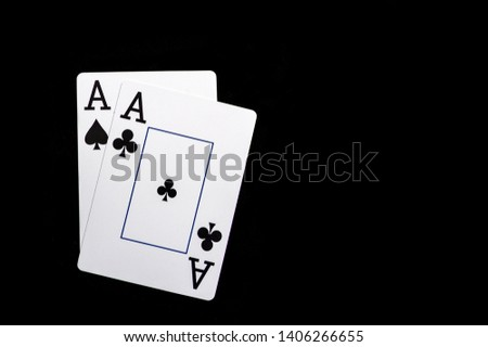 Two aces, playing cards on black table. Casino, gambling game chance concept #1406266655