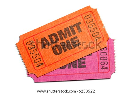 Two Admit One Ticket isolated on pure white background