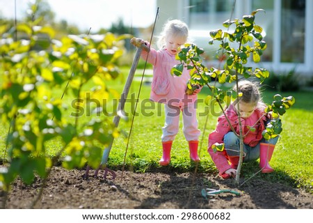 Two adorable little sisters helping in the garden on beautiful autumn day #298600682