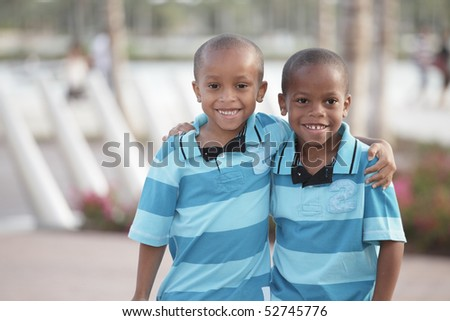 Two African American brothers in the park