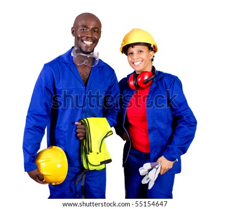 two african american industrial worker isolated on white