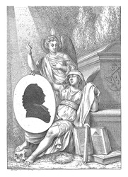 Two allegorical figures at a funerary monument. Godliness is personified by an angel with a flame on his head, who points to a ray of light