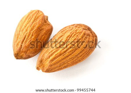 two almond on white view from above