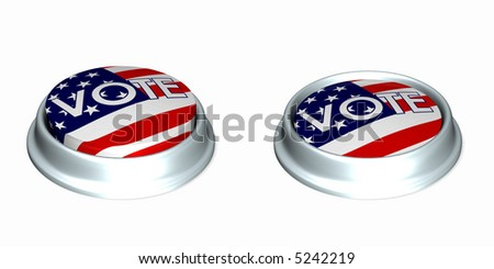 Two American Flag Vote buttons. One in the up position and the other in the depressed position. Isolated on a white background.