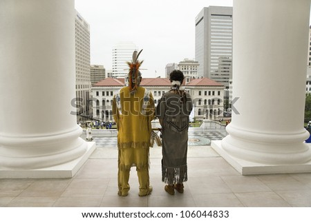 Two American Indian and Powhatan Tribal member, looking over Richmond Virginia from State Capitol during ceremonies for the 400th Anniversary of the Jamestown Settlement on May 3, 2007
