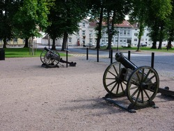 Two ancient canons standing in a park in Vänersborg, Sweden. They are fire canons used to alert if a fire broke out in the city.
