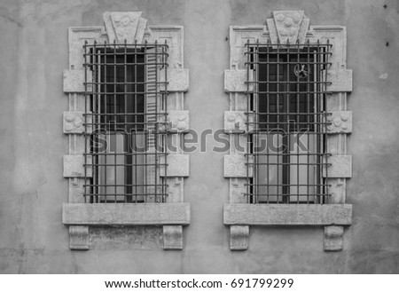 Two Ancient Old Windows On Antique Peeled Worn Facade Classic European Architecture Postcard Concept