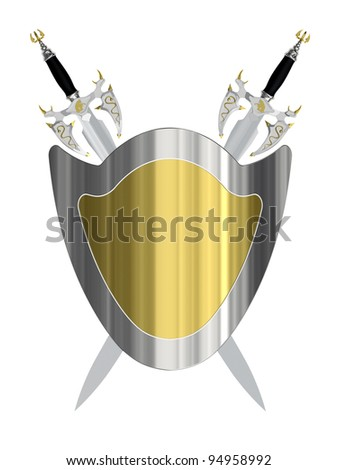 Two ancient swords with shield isolated on white background