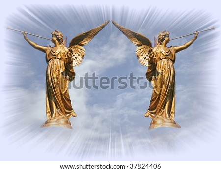 Heaven Gates With Angels Two Angels at The Gates of