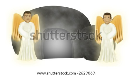 two angels in front of an empty tomb