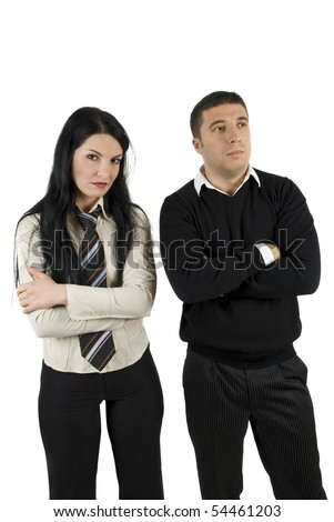 Two angry or disappointed  business people about financial crisis or in trouble standing with arms crossed and thinking at future