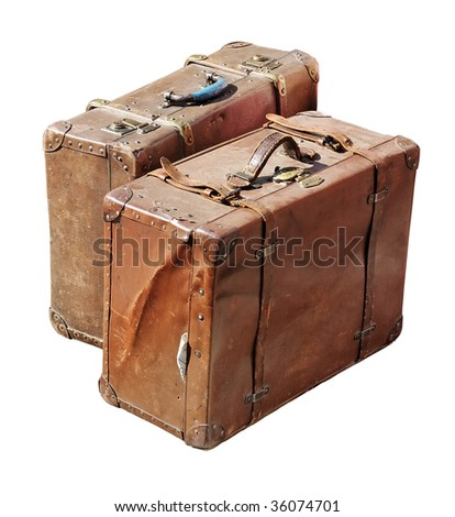 Two antique suitcases isolated with clipping path