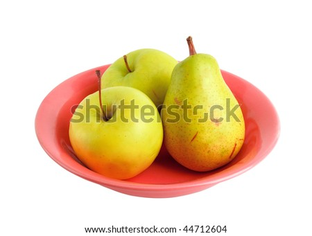 Two apples and one pear on the red plate isolated on white. All fruits with stems. - stock photo