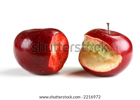 Two apples, one with teeth and the other bitten