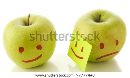Two apples smiling and crying on white. Concept of hypocrisy to hide feelings of emotion hold your sadness joy couples in romantic relationships and family