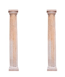 Two architectural columns on a white background.