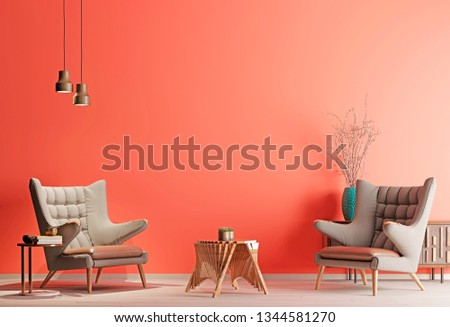 Two armchair in a living coral color living room in modern style with low table and decor. Live coral background. 3d rendering