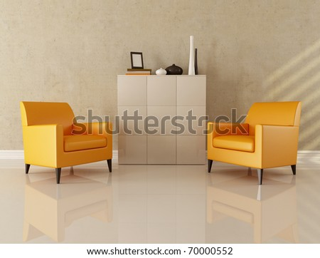 two armchair in modern lounge