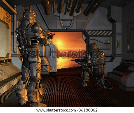Two armoured space marines about to disembark from their spaceship onto the surface of a red planet, 3d digitally rendered illustration