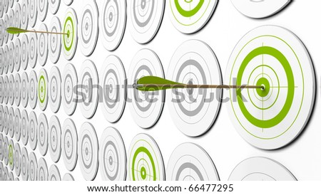 two arrows hitting the center of green targets. there is some grey targets around. this is a 3d image with perspective